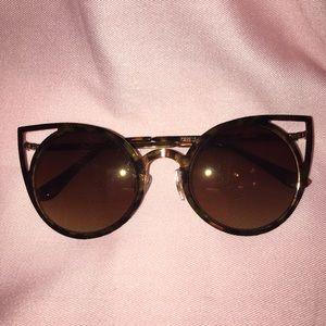 Round Cat Eye Cutout Sunglasses